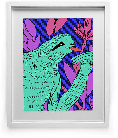 """Midnight Marauder"" Sloth Art Print"