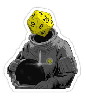 """d20 Astronaut"" Sticker (Approx. 3"" x 4"")"