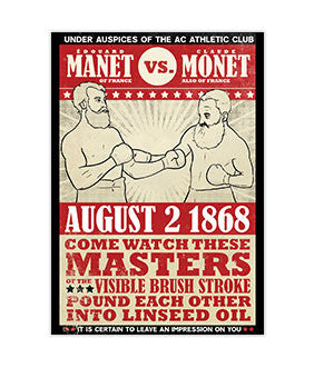 """Manet vs Monet"" Vintage Boxing Poster Sticker 