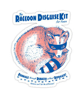 """Raccoon Disguise Kit for Foxes"" Sticker"