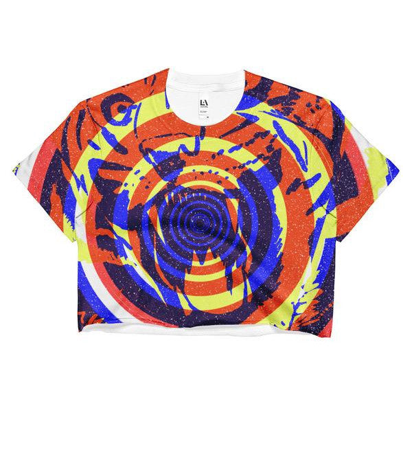"""Tiger Concentric"" Crop Top (front)"