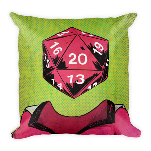 """d20"" Roll Play Dice Portrait Pillow"