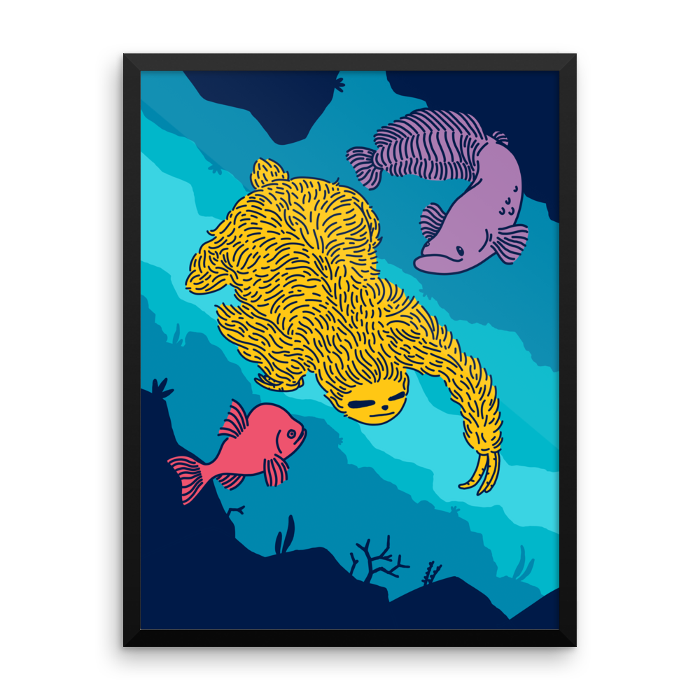 """Swimming Sloth"" Framed Poster"
