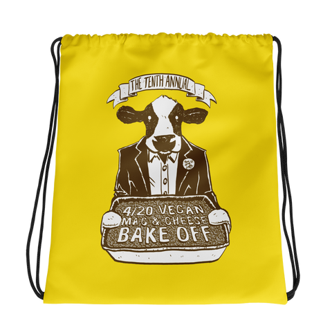 """4/20 Vegan Mac & Cheese Bake Off"" Drawstring Bag"