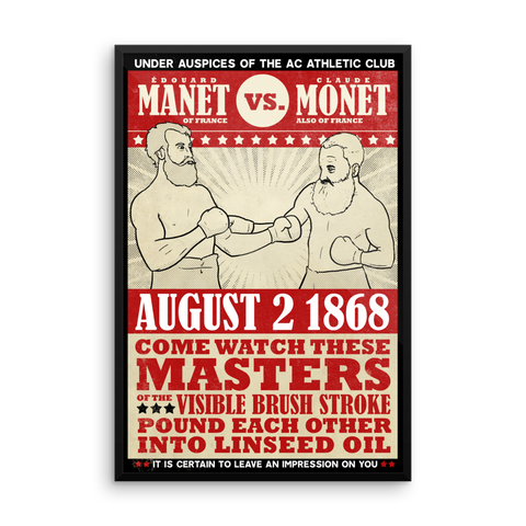 """Manet vs. Monet"" Framed Vintage Boxing Poster"
