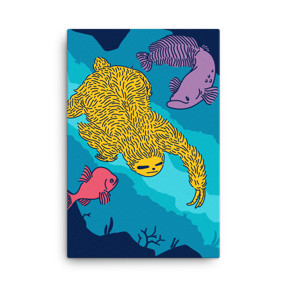"""Swimming Sloth"" Canvas"