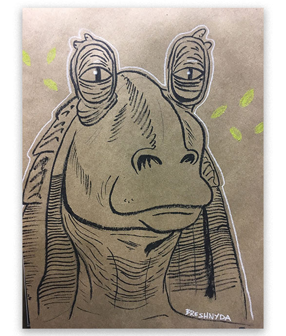 This Jar Jar art was made live at MegaCon Orlando 2017 by Breshnyda in Artist Alley A207 by commission. Drawing features Jar Jar in a calm and relaxed state.
