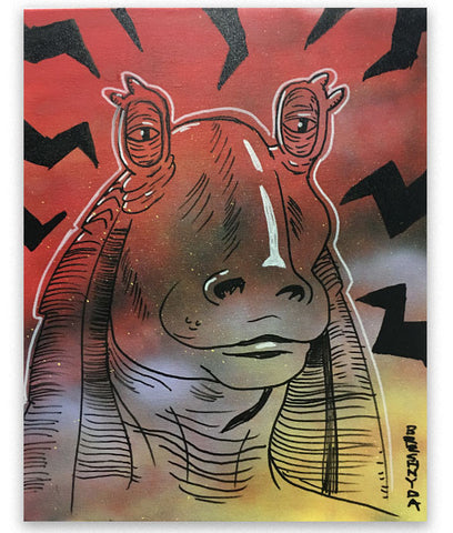 """Jar Jar Binks #03 (Sensitive)"" Mixed Media Painting"