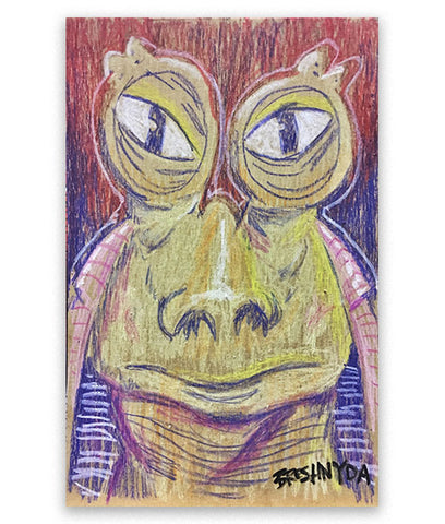 """Jar Jar Binks #04 (Upset)"" Oil Pastel Drawing"