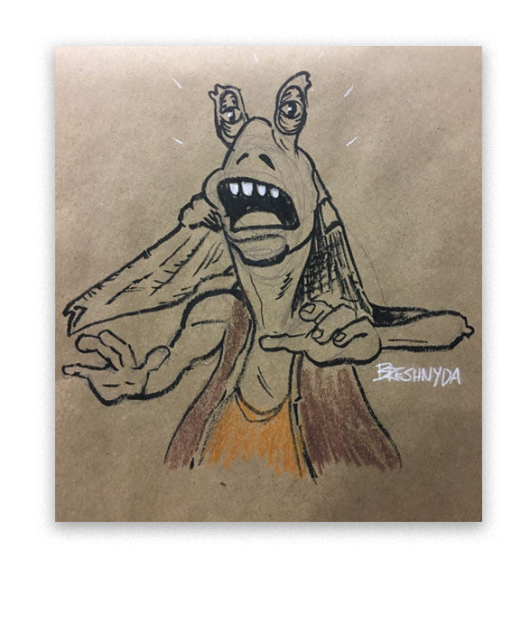 This Jar Jar art was made live at MegaCon Orlando 2017 by Breshnyda in Artist Alley A207 by commission. Art features Jar Jar in a shocked state on brown paper.