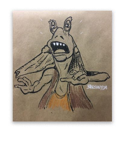 """Jar Jar Binks #06 (Shocked)"" Ink Drawing"