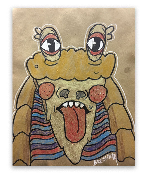 This Jar Jar art was made live at MegaCon Orlando 2017 by Breshnyda in Artist Alley A207 by commission. Art features Jar Jar Pizza on brown paper.