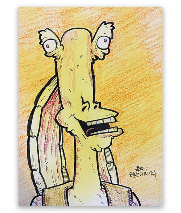 This Jar Jar art was made live at MegaCon Orlando 2017 by Breshnyda in Artist Alley A207 by commission. Art features Jar Jar in a derpy state on paper. Collaboration with Justin Peterson (MAD Magazine, Very Near Mint).