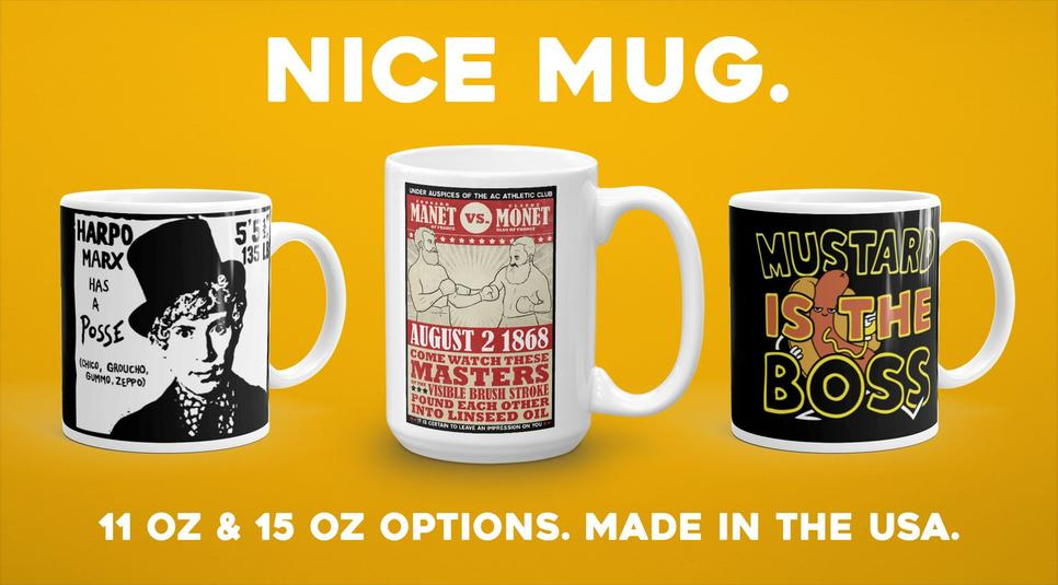 Mugs ready to ship! 11 & 15 oz options available.