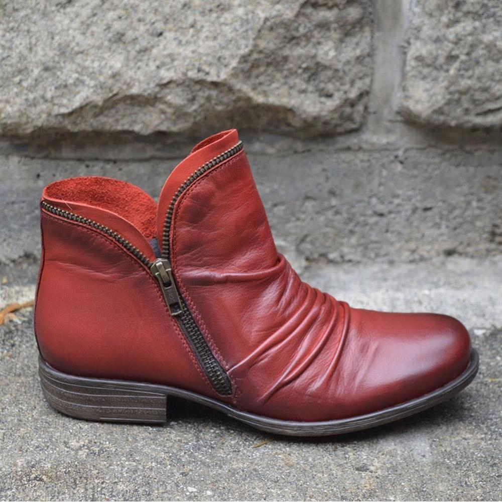 Women's Trendy Vintage Leather Booties Ankle Boots With Zipper