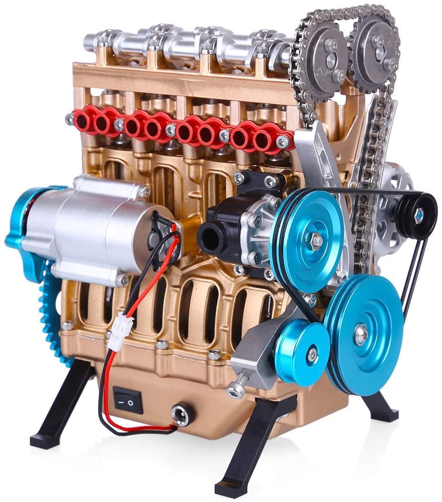4 Cylinder Full Metal Car Engine Assembly Kit Model Toys