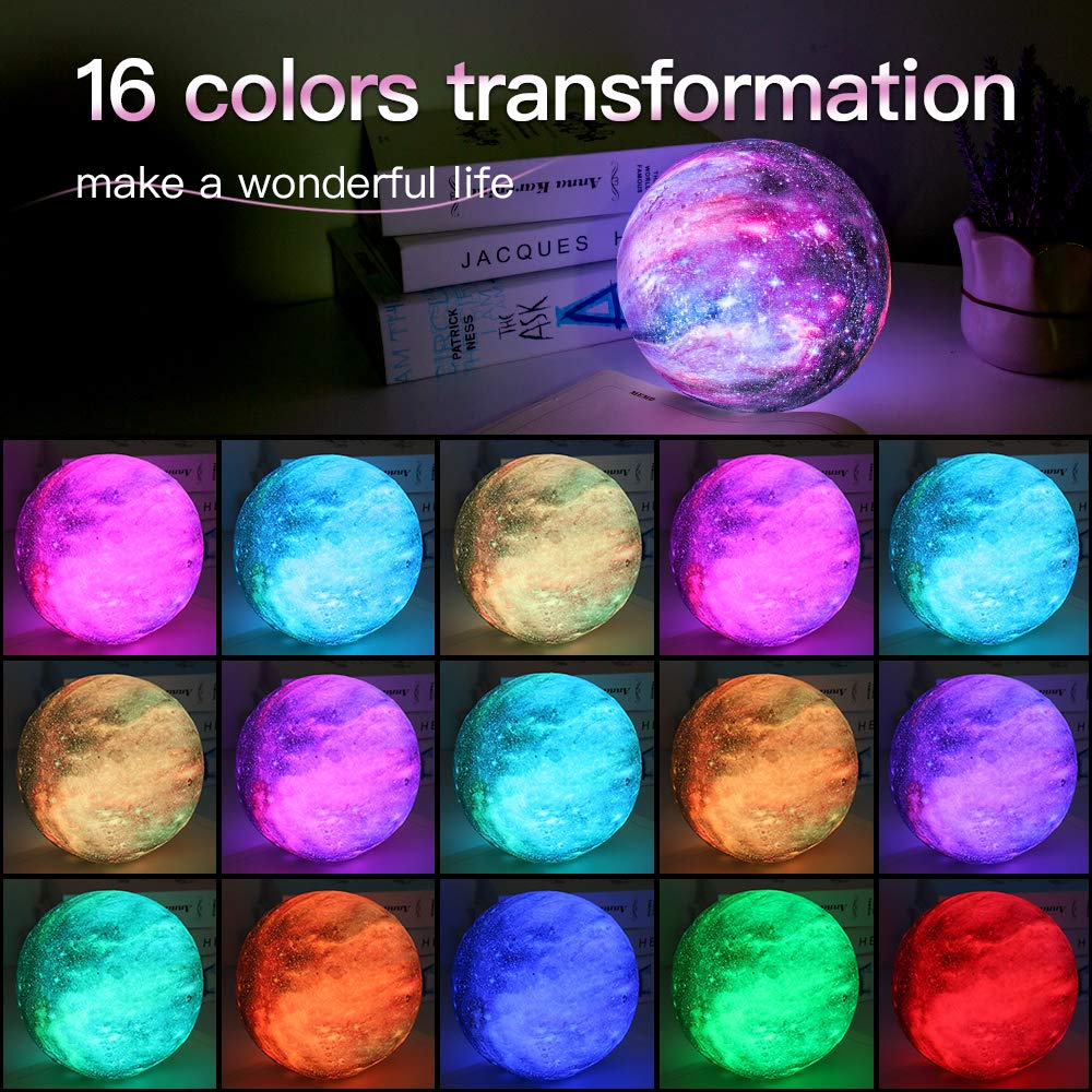 Galaxy Lamp16 Colors LED 3D Star Moon Light with Wood Stand