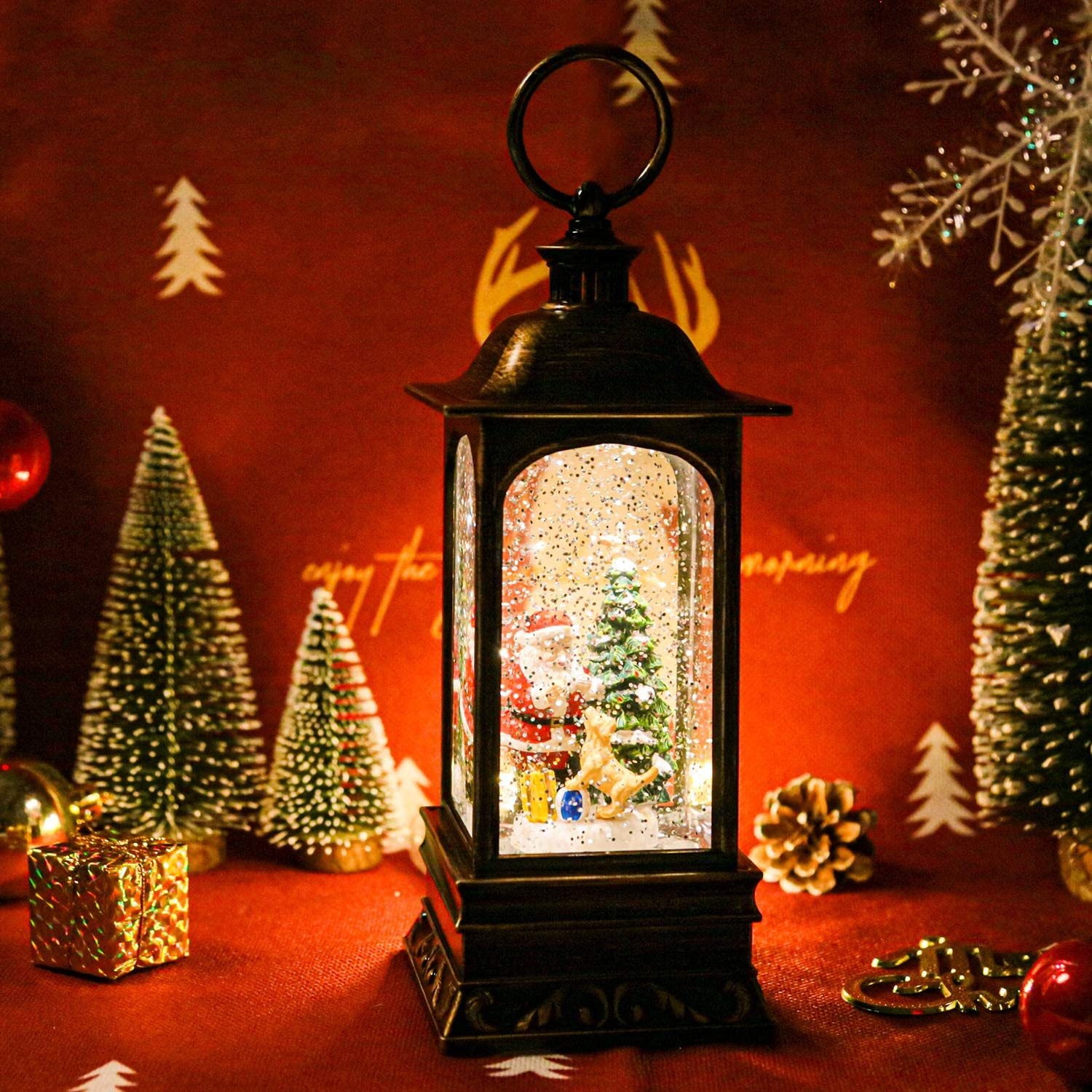 ❄Santa Claus Decoration LED Lantern With Glitter Great