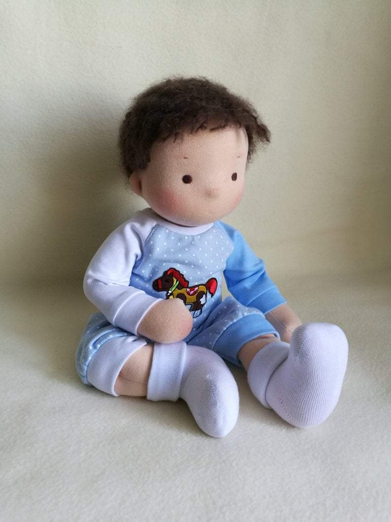 Steiner doll Waldorf Doll Boy Waldorf Baby Doll The First Doll 38 см/15 Inch Doll Textile Doll To Order Doll With Dark Hair