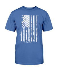 Distressed American Flag Unisex T shirt. Proceeds from our American flag shirts are donated to stop Veteran and First Responder suicide.