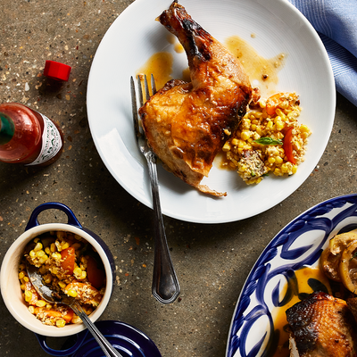 Hot Honey Butter Roasted Chicken with Corn + Tomato Salad