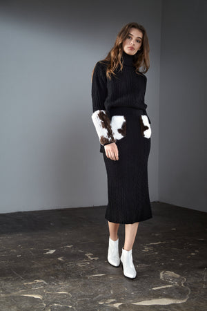 Black Cable Knit Skirt