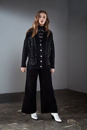 Black Sequin Embellished Cable Cardigan