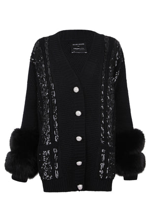 Black Sequin Embellished Cable Cuff Cardigan