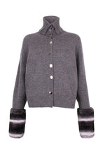 Load image into Gallery viewer, Grey Buttoned Cuff Cardigan