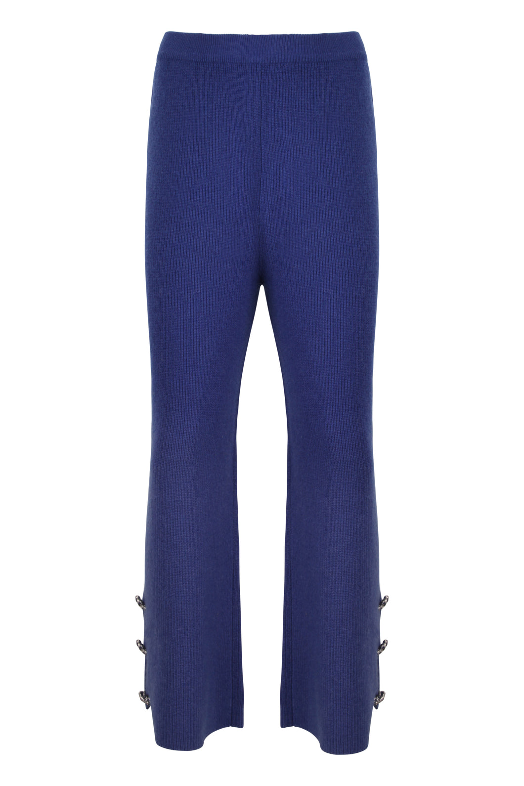 Blue Embellished Knitted Culottes