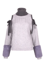 Load image into Gallery viewer, Grey Cold Shoulder Faux Cuff Sweater