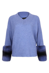 The V Neck Blue Cuff Sweater