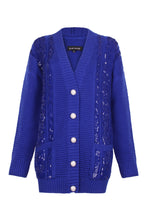 Load image into Gallery viewer, Blue Sequin Embellished Cable Cardigan