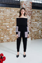 Load image into Gallery viewer, Black Pearl Embellished Off-Shoulder Sweater