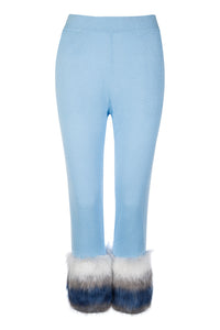 Blue Faux Trim Pants