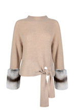 Load image into Gallery viewer, Beige Tie Detail Knit Sweater