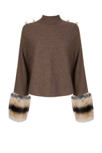 Load image into Gallery viewer, Brown Button Detailed Cropped Polo Neck Sweater