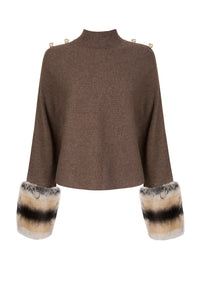 Brown Button Detailed Cropped Polo Neck Sweater