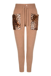 Caramel Leopard Pattern Pocket Pants