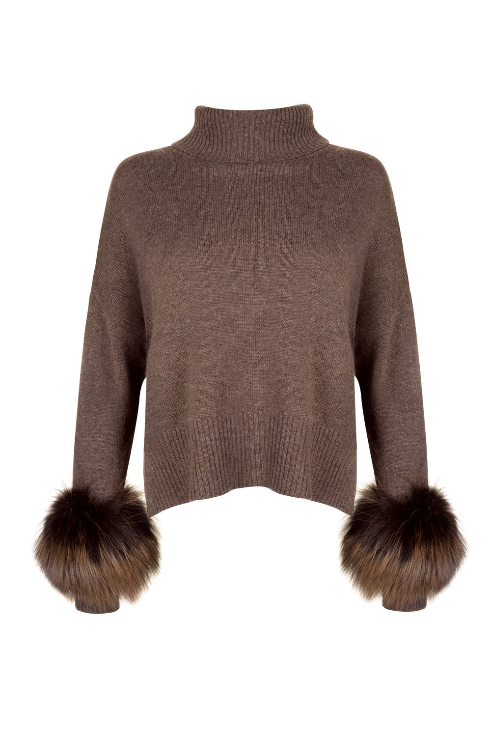 Brown Cropped Polo Neck Cuff Sweater
