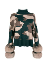 Load image into Gallery viewer, Camo Cropped Polo Neck Cuff Sweater