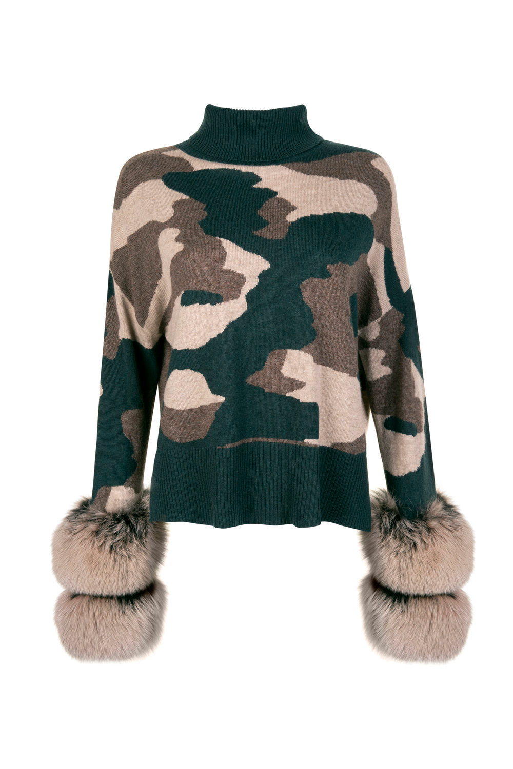 Camo Cropped Polo Neck Cuff Sweater