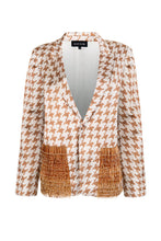 Load image into Gallery viewer, Beige & Caramel Houndstooth Blazer
