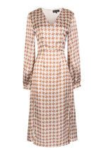 Load image into Gallery viewer, Beige & Caramel Houndstooth Midi Dress