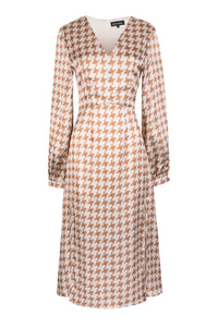 Beige & Caramel Houndstooth Midi Dress