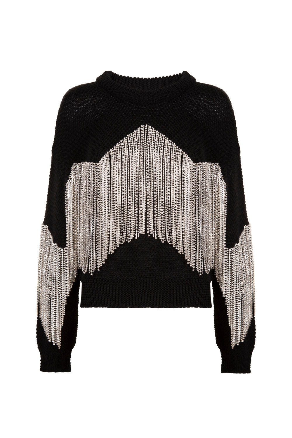 Black Cropped Diamond Tassel Jumper