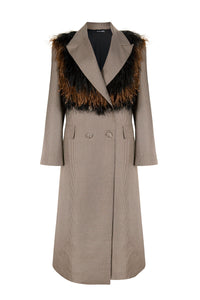 Brown Woven Jacquard Feather Lapel Coat