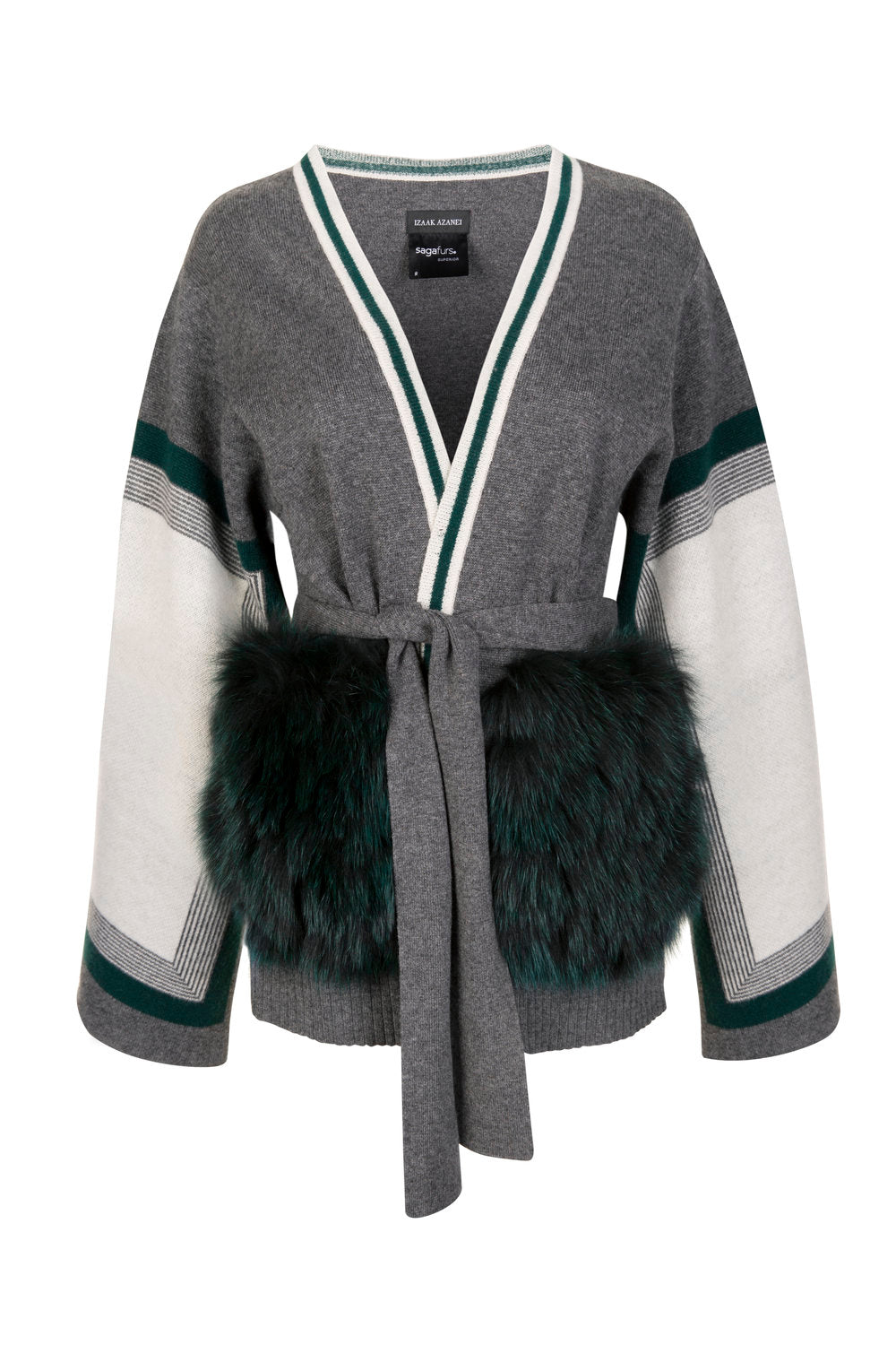 Grey & Green Colour Block Belted Cardigan