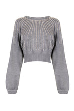 Load image into Gallery viewer, The Grey Embellished Cropped Sweater