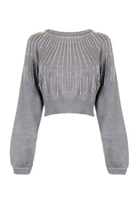 The Grey Embellished Cropped Sweater